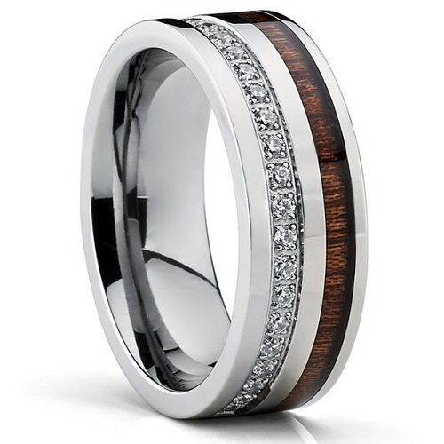 Cute Titanium Men us Wedding Band Ring With Real Koa Wood Inlay Cubic Zirconia CZ
