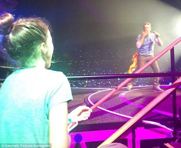 Too cute: Gwyneth Paltrow shared the moment that her daughter Apple went to see Coldplay singer Chris Martin in concert