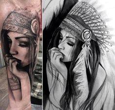 tattoo girl indian in headdress - Google Search