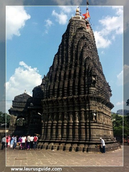 Trimbakeshwar or Tryambakeshwar is an ancient Hindu temple in the town of Trimbak, in the Trimbakeshwar tehsil in the Nashik District of Maharashtra, India, 28 km from the city of Nashik and 40 km from nashik road. It is dedicated to the god Shiva and is one of the twelve Jyotirlingas. Kusavarta, a kunda (sacred pond) in the temple premises is the source of the Godavari River, the longest river in peninsular India.