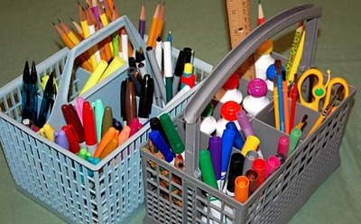 upcycle: old dishwasher basket = organization for school supplies