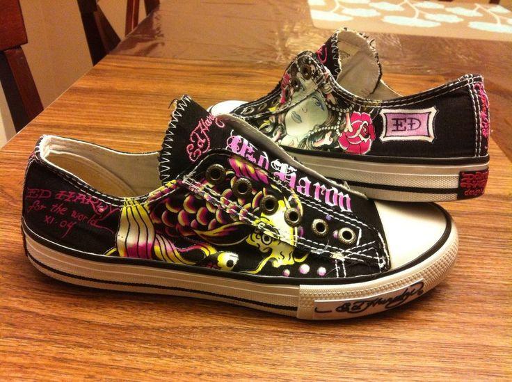 Womens Size 8 Don Ed Hardy Shoes Koi Geisha Tatoo Design Euc! Slip On! #EdHardy #sneakers