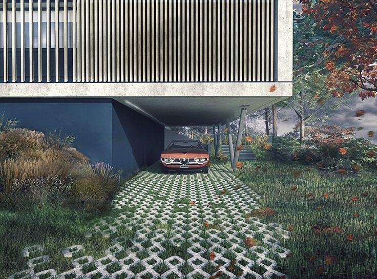 Amnagement extrieur maison terrain en pente cette for Piscine design caluire