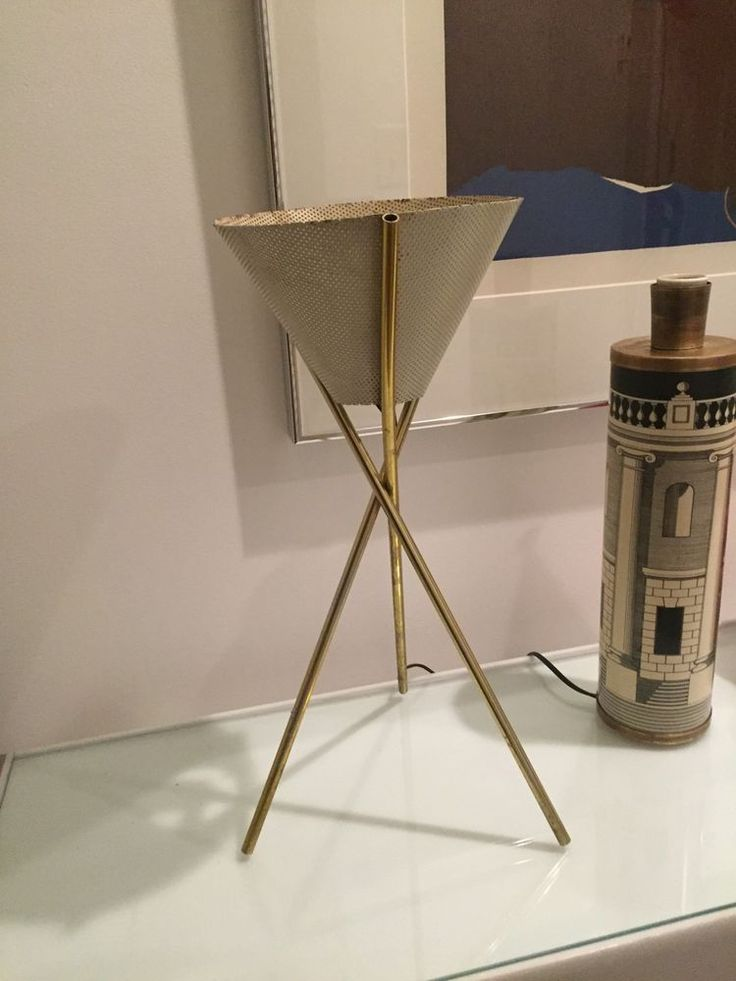 gerald thurston lightolier eames era mid century vtg brass tripod table lamp