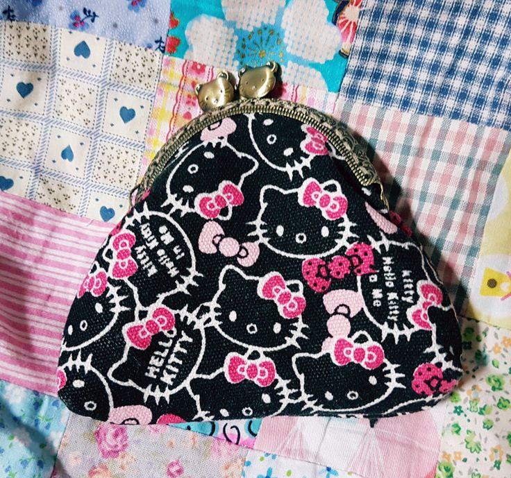 Hello Kitty kiss-lock purse, entirely handsewn