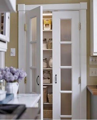 Pantry -love the doors.: Idea, Linen Closet, Pantry Doors, Frosted Glass, Pantries, Kitchen, Laundry Room