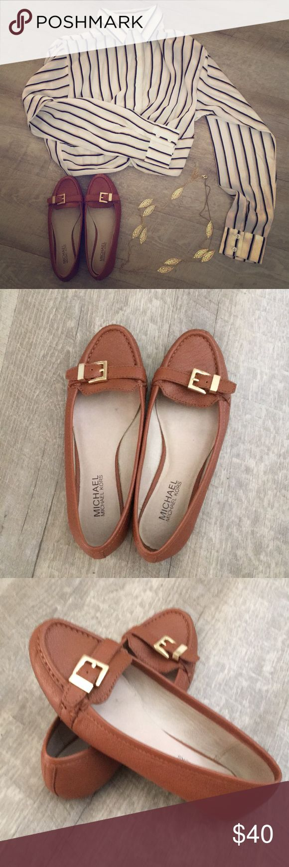 Michael Khors flats Previously loved, excellent condition. Real leather buckle flats. Brown leather with glove tan leather insole. Gold buckles. MICHAEL Michael Kors Shoes Flats & Loafers