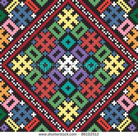 Vector Ukrainian ethnic seamless ornament