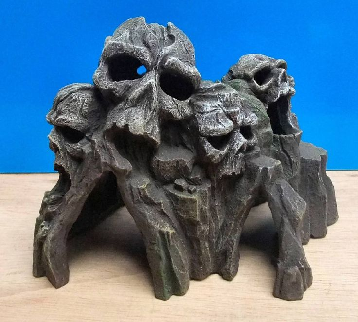 L 21cm X W 13cm X H 15cm  Aquarium Ornament Skull Mountain Head Tunnel Cave Fish Tank Decoration New