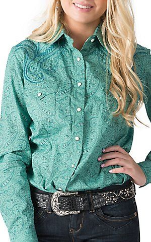 Panhandle Slim Rough Stock Women's Turquoise with Paisley Print & Embroidery Long Sleeve Western Shirt