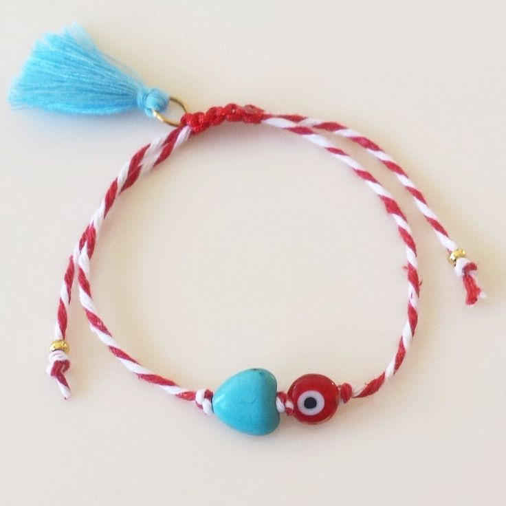 March Bracelet with Howlite Heart, Tassel and Evil Eye, Macrame, Martis, Worldwide Shipping by GlowHandmade on Etsy