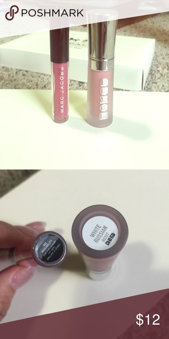 """Lip gloss bundle Lip gloss bundle includes: Marc Jacobs lip gloss in """"kissability"""" and Buxom lipgloss in """"White Russian"""". Never used or swatched. Brand new without box. Authentic. Marc Jacobs Makeup Lip Balm & Gloss"""