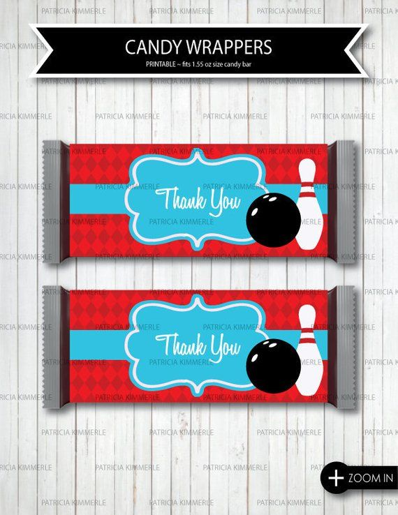 Bowling Birthday Party Favor Candy Bar Wrapper Bowling Birthday Printable Bowling Candy Bar Favor Candy Bar Favor Bowling Party