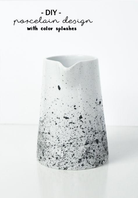 DIY Porzellan Bemalen: Kanne Mit Sprenkelmuster