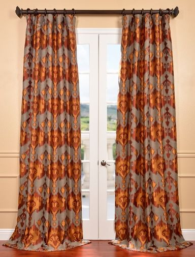 Borneo Rust Jacquard Curtain Rich In Texture And Color These Faux Silk Jacquards Are Gracefully