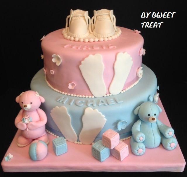TWINS BABY SHOWER CAKE BY SWEET TREAT www.sweettreatusa.com