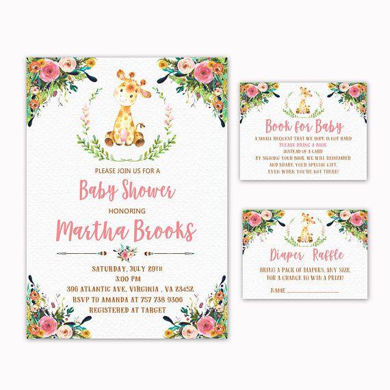 Giraffe Baby Shower Invitation  Book for Baby  Diaper