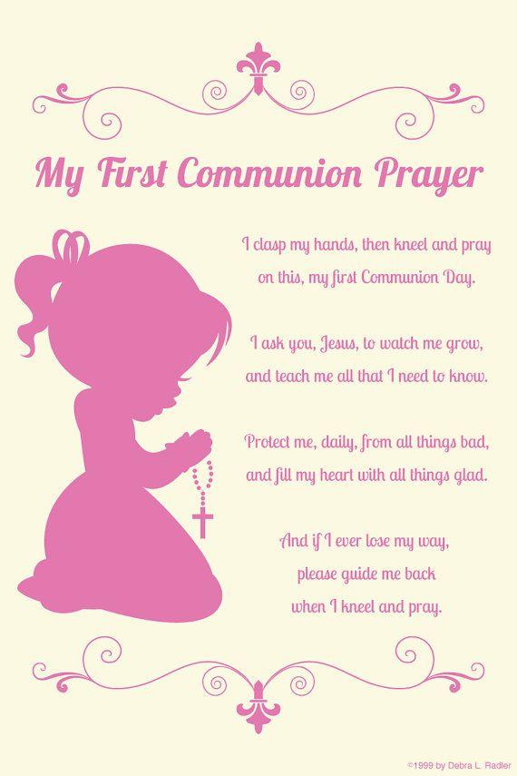 First Communion Prayer Canvas Wall Art Praying Girl by ArtfulPoems