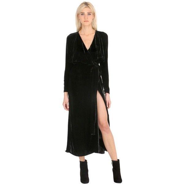 Attico Women Long Wrap Velvet Dress ($960) ❤ liked on Polyvore featuring dresses, black, velvet dress, long v neck dress, long velvet dress, velvet wrap dress and v neck wrap dress