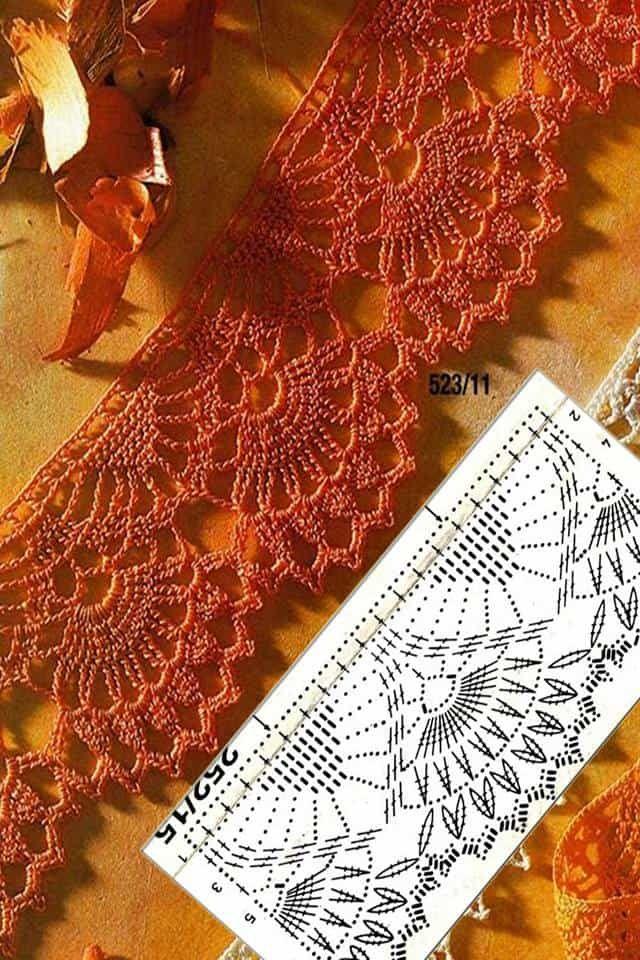 Patrón en gráficos para tejer una linda puntilla que puede ser usada para adornar toallas tejido a crochet o ganchillo. Mira más instrucciones y el botón para descargar este patrón al final de las imágenes.