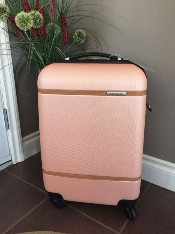 "Voor formaat handbagage Ryanair Samsonite Clearwater LTD 20"" Luggage Suitcase Spinner Hardshell ABS PINK/Salmon"
