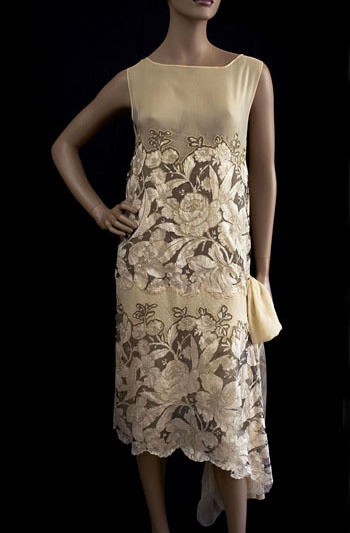 Beaded silk lace flapper wedding dress, late 1920s, from the Vintage Textile archives.