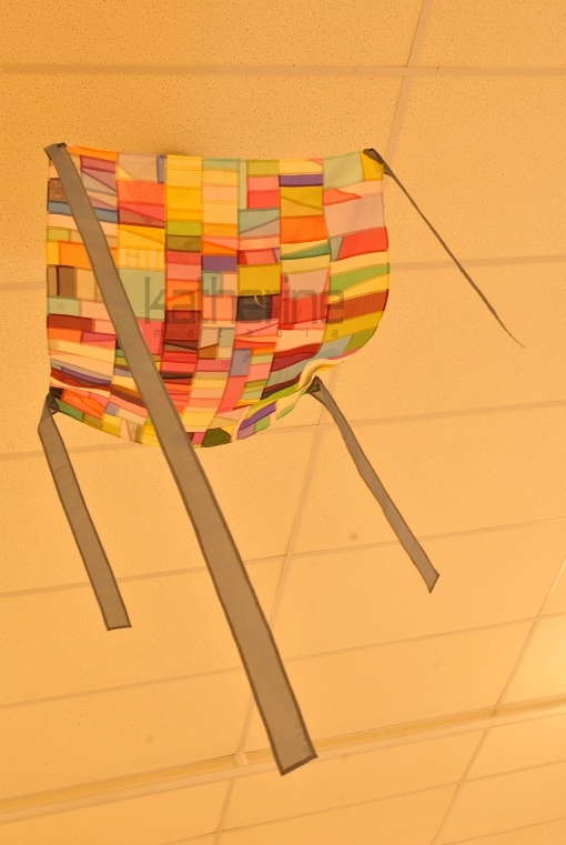 Jogakbo : Beautiful Korean traditional patchwork wrapping cloth, here displayed on a ceiling with its tying strips hanging free