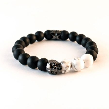 The Dark Prince Archives - 10mm Matt Onyx and White Howlite featuring Solid 925 Silver Eli Skull and Eli Crown finished in Smoked Blade