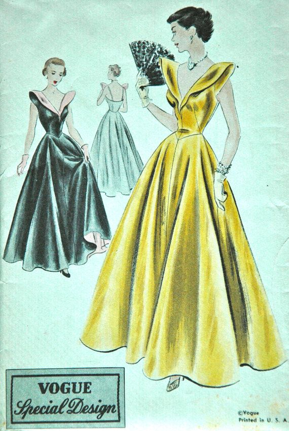 1950s Vogue Special Design Evening Dress Pattern by backroomfinds, $69.95