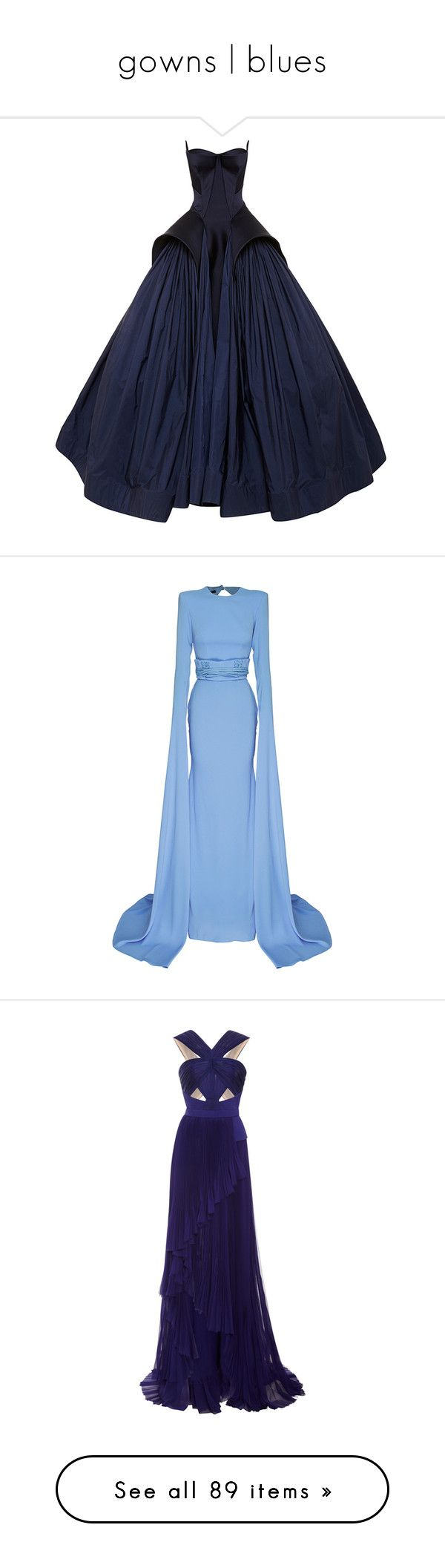 """""""gowns   blues"""" by blackguarde ❤ liked on Polyvore featuring dresses, gowns, long dresses, blue, royal blue, strapless gown, royal blue ball gown, royal blue long dress, peplum dress and long sleeve floor length dress"""