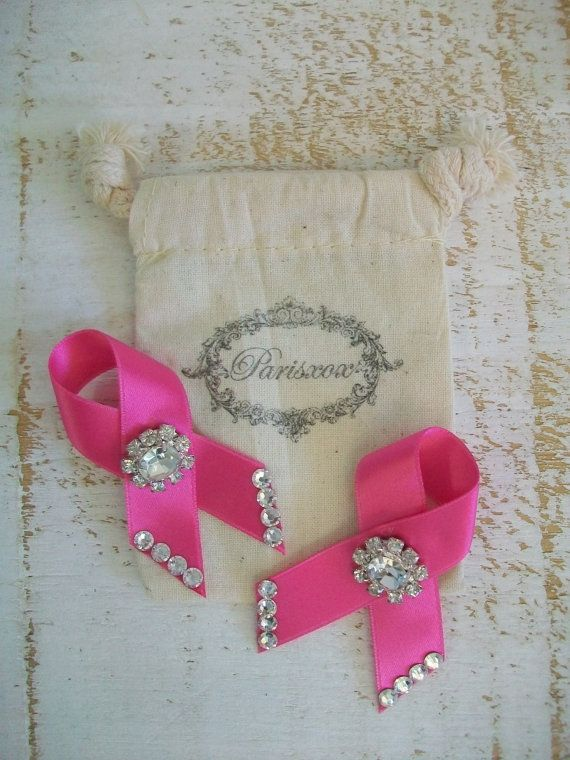 Breast Cancer Awareness Shoe Clips Pink Ribbon Shoes --- could make these ribbons out of soft pink leather