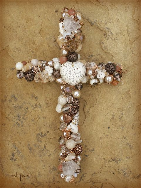 "10"" Beaded Wire Wall Cross with White Turquoise Heart focal.  This cross is one of my all time faves that I've ever made."