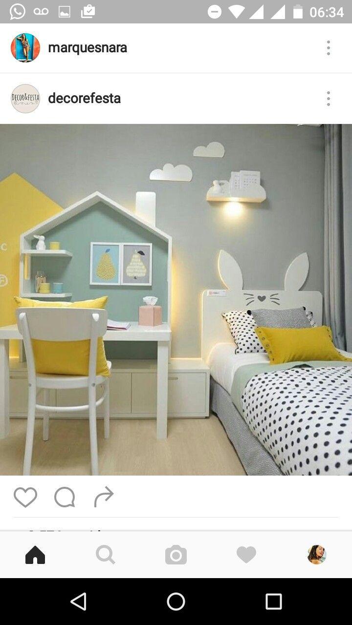 House desk and bunny ears headboard, kids room
