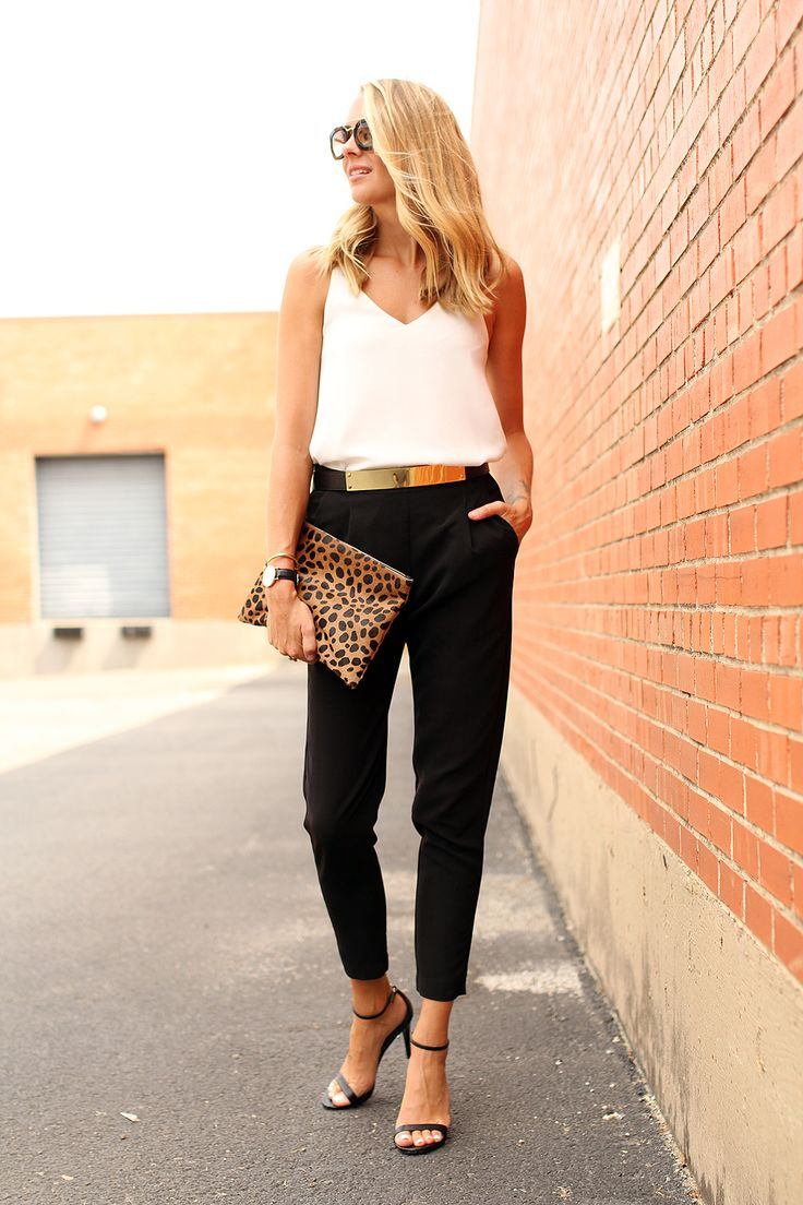 cream silky tank, black trousers, gold belt, leopard clutch, black strappy sandals