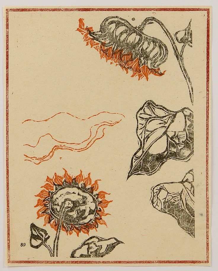 Sunflowers, 恩地孝四郎 / Onchi Koshiro. Japanese Printmaker (1891 - 1955)