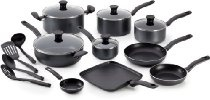 T-fal A821SI64 Initiatives Nonstick Inside and Out Dishwasher Safe 18-Piece Cookware Set, Gray/Charcoal
