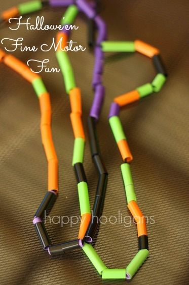 Hallowe'en necklaces - happy hooligans - fine motor craft/activity