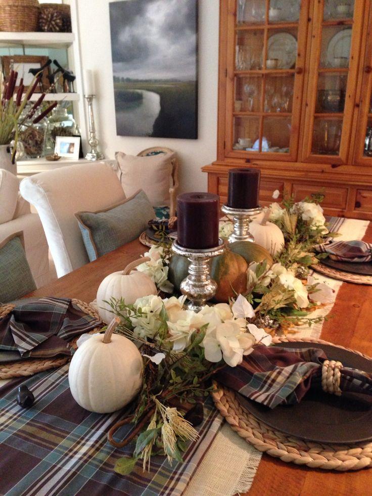 Fall dining table Love Pottery Barn Hunter Plaid Table
