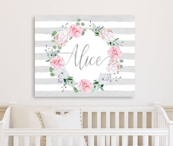 Gray And Pink Floral Nursery Decor Nursery Wall Art Canvas Etsy In 2020 Floral Nursery Decor Pink Floral Nursery Nursery Decor Girl
