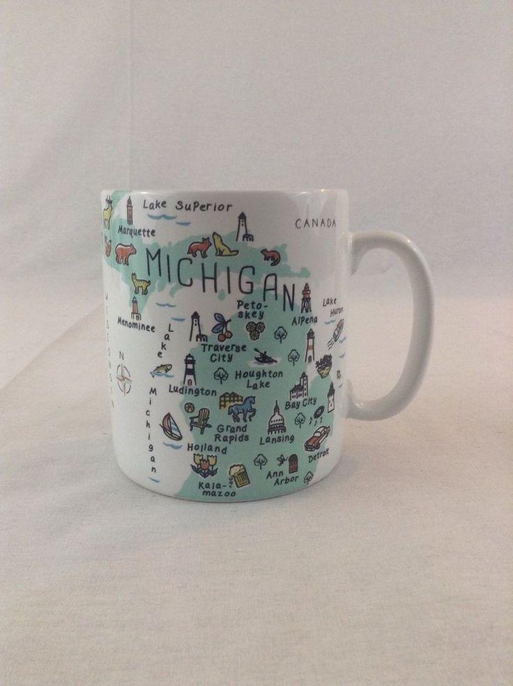 Ceramic Mugs For Sale Part - 49: New 26oz 222 Fifth My Place Jumbo Michigan Ceramic Coffee Cup Mug