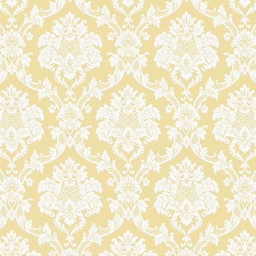 Vinyl Tapete Barock Retro # gelb/weiß # Fujia Decoration # 65332