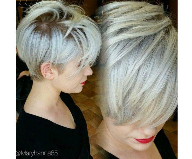 Les 25 meilleures id es de la cat gorie coupes de cheveux courts gris sur pinterest coupe de - Coupe undercut femme ...