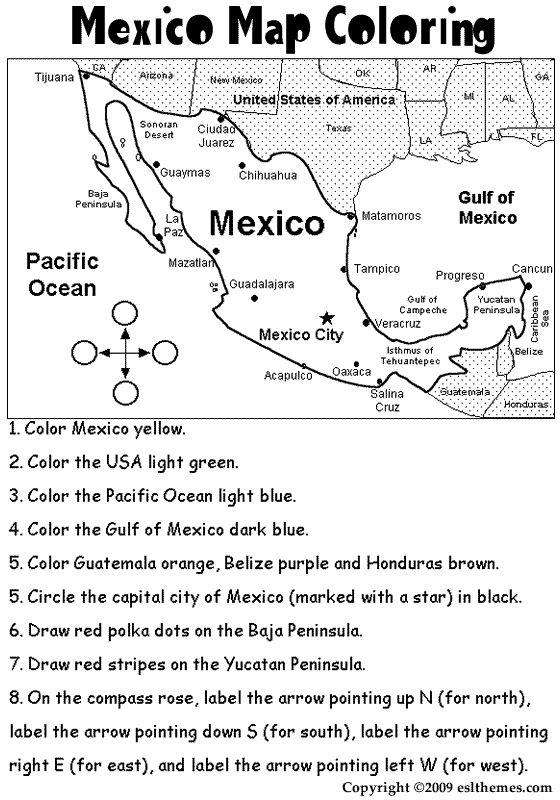 mexico coloring activities | eslthemes:Mexico Map Coloring