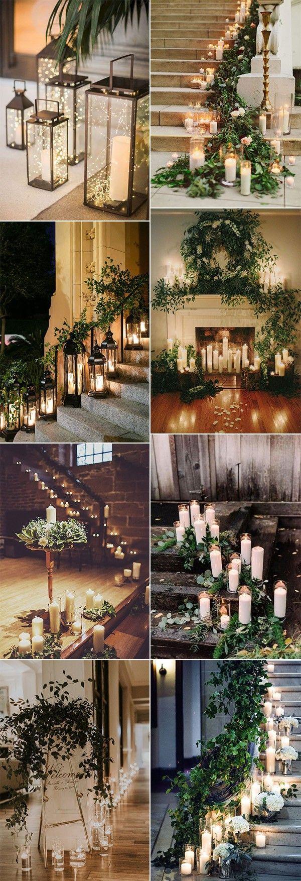 Winterhochzeitsdekorationideen mit Lichtern und Kerzen   – Wedding Decorations