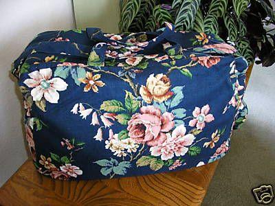 Navy Floral Linen Weekend Travel Bag