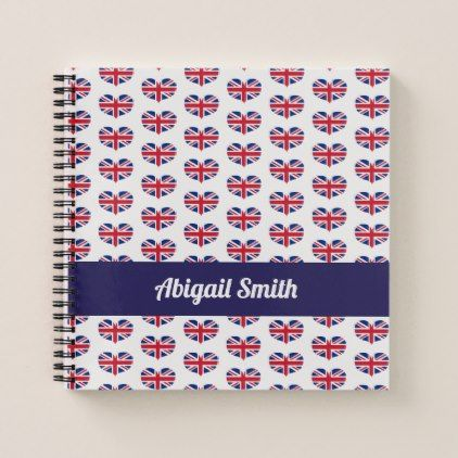 #Heart Shaped UK Flag / Union Jack Personalized Notebook - #office #gifts #giftideas #business