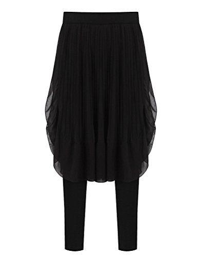 5dcdf5094b Mujer Color Sólido Cintura Alta Pantalón Baggy Gasa Yoga Bailando Culottes  Negro 4XL