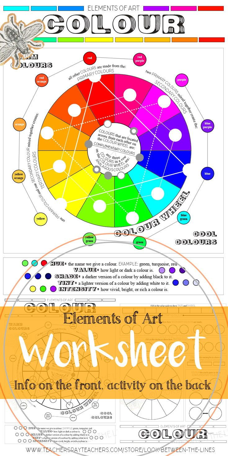 This printable worksheet covers the element of art, color. The front has visual examples and information about the color wheel, color schemes, hue, tine, shade, and highlights. The back of the art worksheet is full of activities that tests the students understanding of the front. #arteducation #color #elementsofart #printableworksheet #art