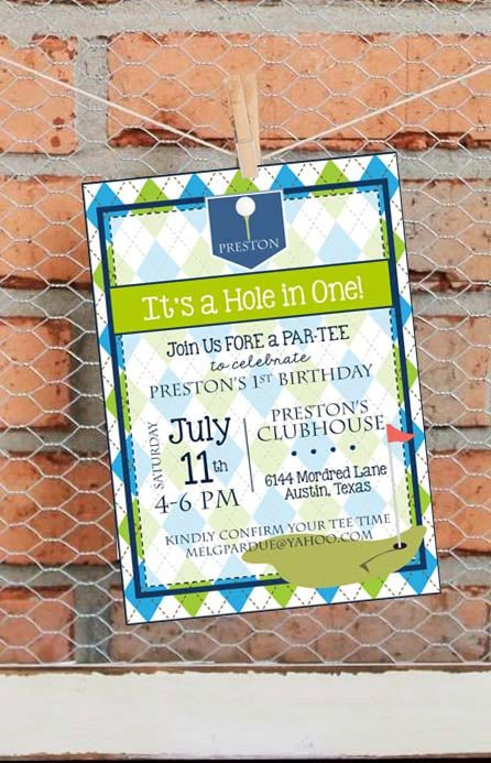 Golf Birthday Party Invitation - Golf First Birthday Party Invitation - Par-Tee - Hole in One - Golf Theme - Customize - Printable - 5x7  To