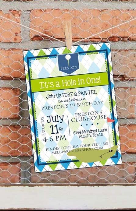golf birthday party invitation golf first birthday party